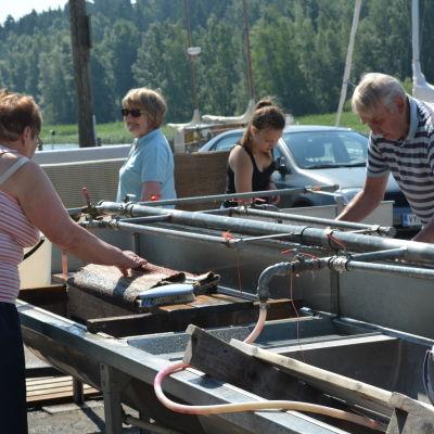Människor står vid en mattvätt och tvättar mattor.