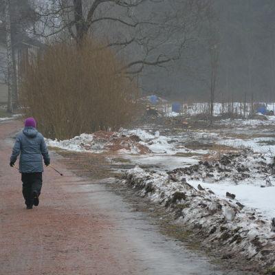 Vid Stenbrovägen går ett promenadstråk med kolonilotterna till höger.