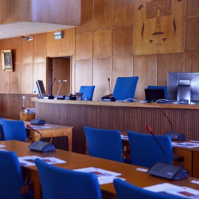 Fullmäktigesalen i Hangö.