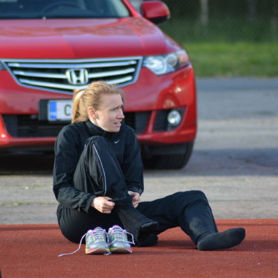 Heidi Eriksson vid Tomatspelen i Närpes 2015.
