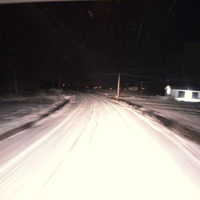 Ordentligt vinterföre på de österbottniska vägarna.
