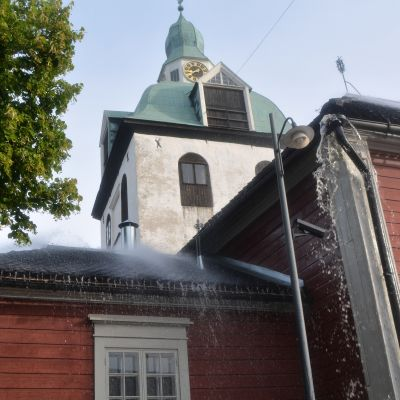 sprinklertest på på lilla kyrkan invid borgå domkyrka 02.09.15