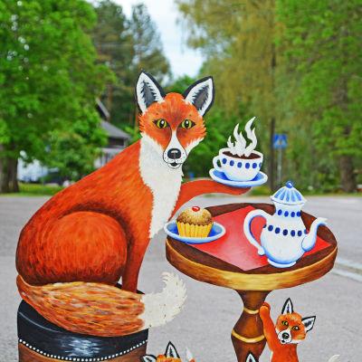 Skylt som föreställer rävar