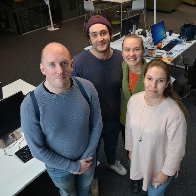 Calle Tengman, Zakarias Hamiane, Charlotte Karlsson och Catherine Klingstedt studerar vid Novia i Åbo