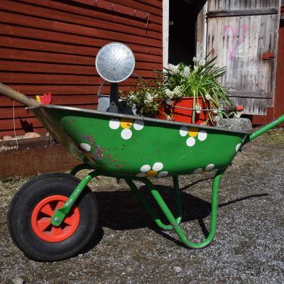 En grön skottkärra dekorerad med vita blommor, lastad med en hink med vita vårblommor, en vattenkanna i zink och en grep.