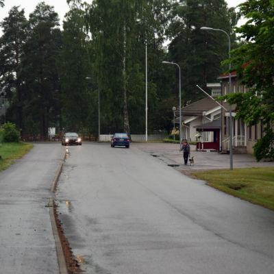 En väg där man ser två bilar köra och en kvinna gå med sin hund. På ena sidan av vägen syns några byggnader.