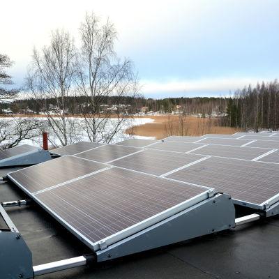 Solpaneler uppsatta på ett tak.