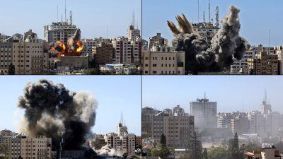 Den här bildserien visar anfallet mot mediebyggnaden, det så kallade Jala-tornet i Gaza City i lördags.
