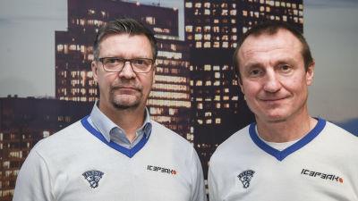 Jukka Jalonen och Jere Lehtinen under en pressträff.
