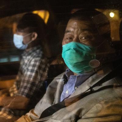 Jimmy Lai autossa vapauttamisensa jälkeen 11. elokuuta 2020.