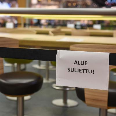 Suljettu ravintola Itiksessä. 16.3.2021