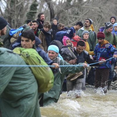 Flyktingar tar sig över en flod för att hitta alternativa rutter för att ta sig till den grekisk-makedoniska gränsen nära Idomeni.