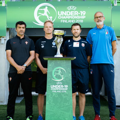 Tränarna Helio Sousa (Portugal), Juha Malinen (Finland) och Pål Arne Johansen (Norge)