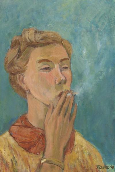 Tavla som föreställer en ung kvinna som röker.