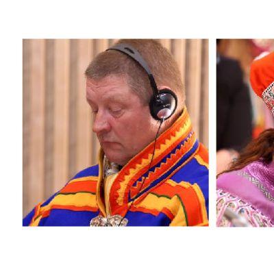Soađegili gieldda sámediggeválgaevttohasat Jouko Hetta ja Petra Biret Magga-Vars.