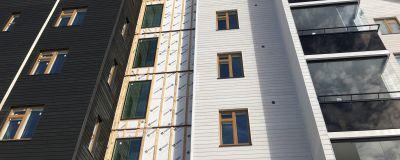 Sexvåningshus i trä i Melmo i Vasa.