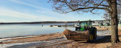 En traktor kör på en strand och i bakgrunden syns en brygga. Havet är spegelblankt.