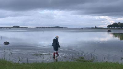 En kvinna med regnrock och gummistövlar vadar vid en havsstrand.