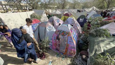 Tält uppsatta i Kabul, människor står utanför.