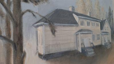 Målning av gammal skola