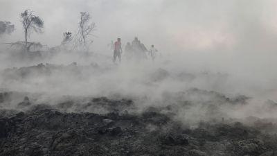 Morgon i Goma efter nattligt vulkanutbrott