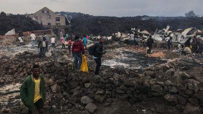 Invånare beskådar förödelsen efter lavaflödet i Goma