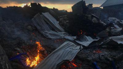 Aska i utkanterna av Goma efter vulkanutbrott 23.5.2021