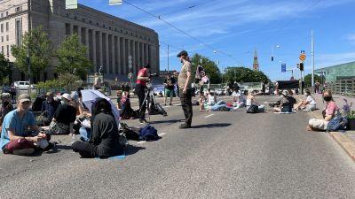 demonstranter på Mannerheimvägen framför riksdagshuset