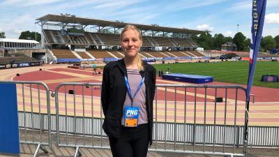 Viola Westling framför Paavo Nurmi stadion inför Paavo Nurmi Games.