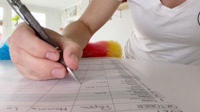 En kvinnas hand syns medan hon antecknar i en kalender.