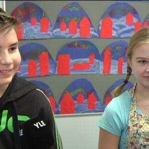 Alvin Olenius och Ada Haikola , elever vid Klemetskog skola