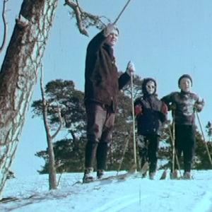 Perhe hiihtämässä