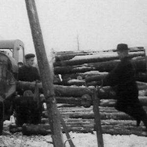 Metsätyömiehet kuorivat puutukkeja 1966.
