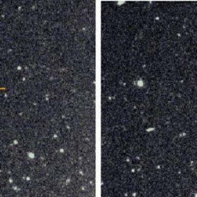 Kaksi rinnakkaista kuvaa valojen täplittämästä kaukaisesta avaruudesta.