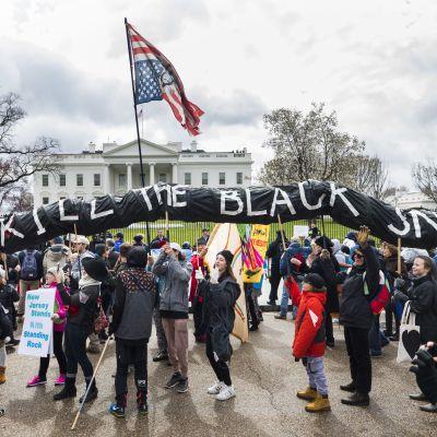 Arkistokuva. Mielenosoittajat vastustivat presidentti Donald Trumpin tukea putkihankkeelle Washingtonissa Valkoisen talon edustalla maaliskuussa 2017.