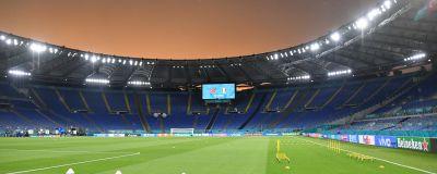 Bild på tomma läktare på Olympiastadion i Rom.