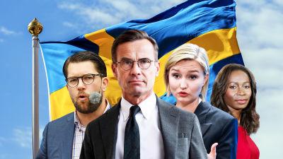 Ulf Kristersson, Jimmie Åkesson, Ebba Busch, och Nyamko Sabuni står framför en svensk flagga. Kollage.