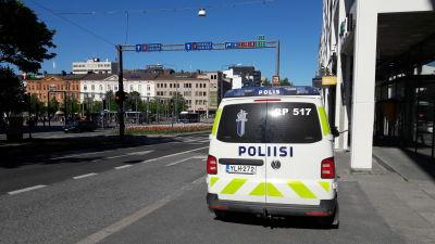 Polisbil i Vasa centrum.
