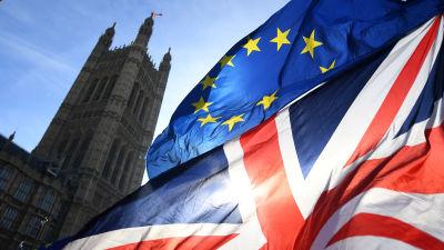 Storbritanniens och EU:s flagga vajar utanför parlamentet i London.