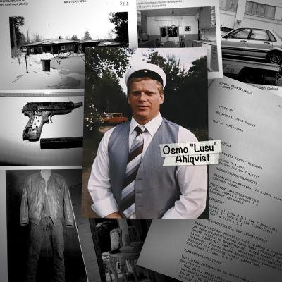 """Kuvakollaasi Osmo """"Lusu"""" Ahlqvistin murhatutkinnan ympäriltä. Kuvassa keskellä Osmo Ahlqvist ja taustalla esitutkintamateriaali kuvia."""