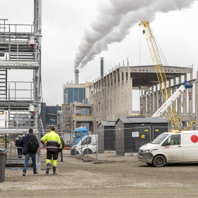 Metsä Groupin biotuotetehtaan työmaa Kemin Pajusaaressa