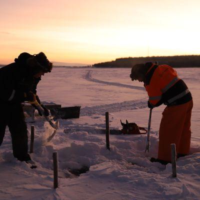 Risto Pyhäjärvi ja Tommi Jyly kaivavat esille avannon jonka alla odottaa maderysä.