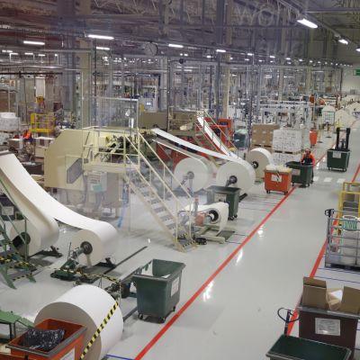 Fabriksutrymmen i Huhtamäkis fabrik.