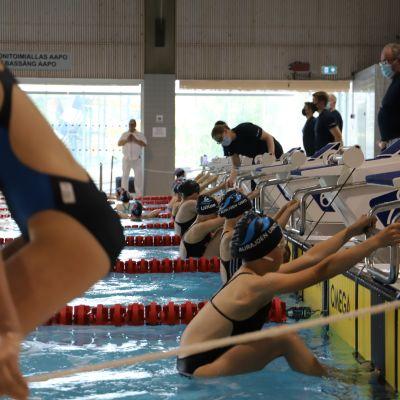 Simmar är i en basäng och är beredda på att tävlingen ska börja.