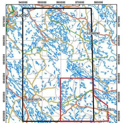 Mustalla rajattuna GTK Pohjois-Savon tutkimusten ydinalue. Punaisella rajattuna alueellinen painovoimamittausalue, jolla maastotyöt jatkuvat läpi vuoden.