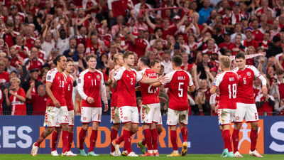 Danmark firar 5–0-segern över Israel.