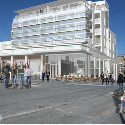 Vision för nybygge vid torget i Jakobstad