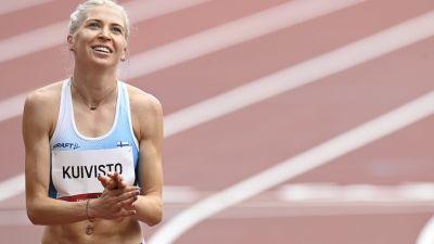 Sara Kuivisto iloitsi Tokion olympialaisissa.