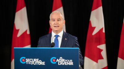 Den konservativa kanadensiska politikern Erin O'Toole talar