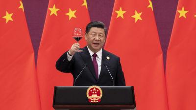 Xi Jinping höjer ett glas vin vid en tillställning i Peking (arkivbild)